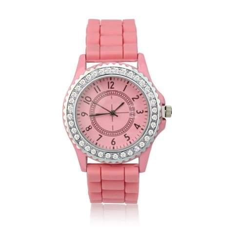 BlingWorld Damenuhr mit Silikonband und Diamantverzierung, Rosa