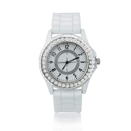 BlingWorld Damenuhr mit Silikonband und Diamantverzierung, Weiss