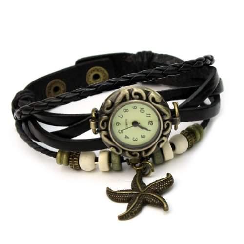 BlingWorld Retro-Damenuhr mit Seesternchen, Kunstlederarmband, Schwarz