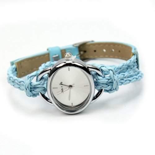BlingWorld Quartz-Damenuhr mit Lederarmband, geflochten, Blau
