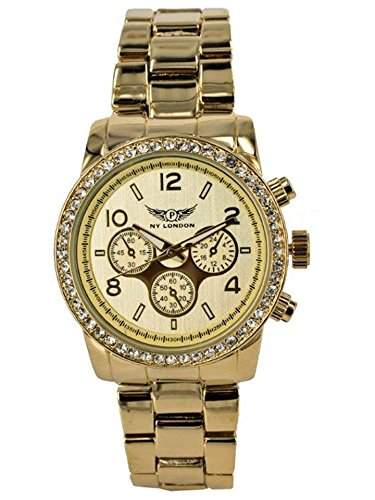 NY London Designer Ladies Watch, Ladies Rhinestone Chronograph Clock in optics, gold, inklGeschenkbox  watch