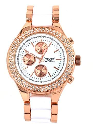NY London designer Damenuhr,Exclusive Damen Strass Uhr in Chronograph Optik,Weiss, Rose Gold