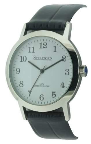 Stratford Herren-Armbanduhr Analog Leder Schwarz SFD01A