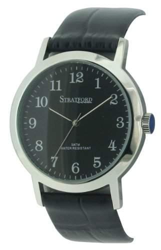 Stratford Herren-Armbanduhr Analog Leder Schwarz SFD01B