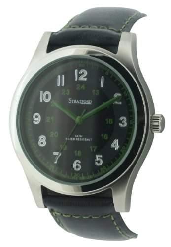 Stratford Herren-Armbanduhr Analog Leder Schwarz SFD09A
