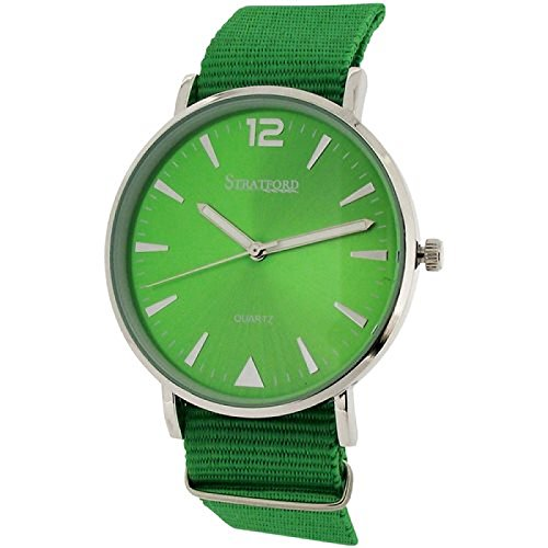 Stratford grosse unisex Uhr gruenes Zifferbl gr Nylonschnallenarmband STF104D