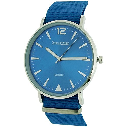 Stratford grosse unisex Uhr blaues Zifferbl Nylonschnallenarmband STF104F