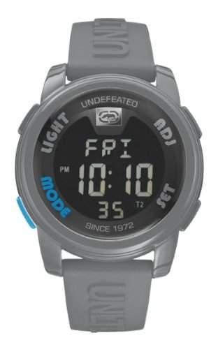Marc Ecko Unisex-Armbanduhr Digitaluhr mit LCD Zifferblatt Digital Display und grau Silikon Gurt e07503g6