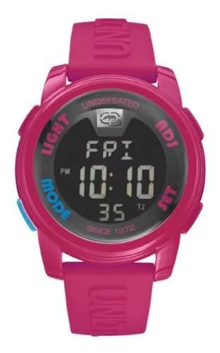 Marc Ecko Unisex-Armbanduhr Digitaluhr mit LCD Zifferblatt Digital Display und Pink Silikon Strap e07503g8