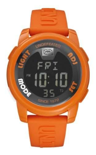 Marc Ecko Unisex-Armbanduhr Digitaluhr mit LCD Zifferblatt Digital Display und Schulterriemen Silikon Orange e07503g9