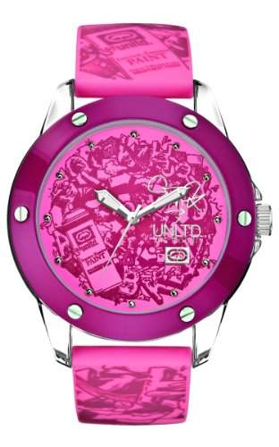 Marc Ecko Damen-Armbanduhr Analog Silikon pink E09530G5