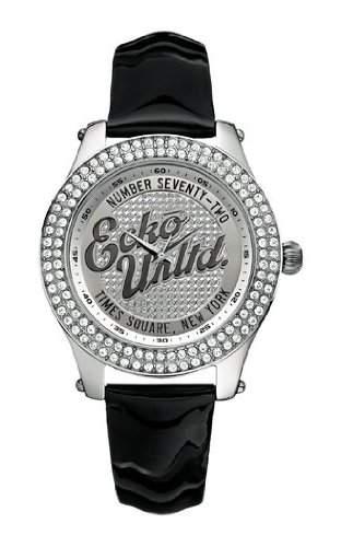 Marc Ecko Unisex-Armbanduhr e10038m1mit Rollie Silber Zifferblatt und schwarze Patent Gurt