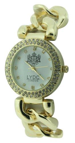 Lydc WomenQuarz Uhr mit weissem Zifferblatt Analog Anzeige und goldenes Armband LYDC47 A