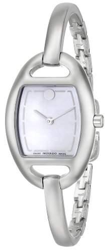Movado Damen 24mm Silber Edelstahl Armband & Gehaeuse Saphirglas Uhr 606606