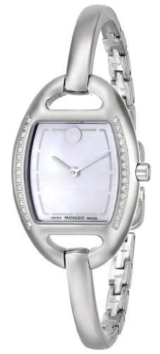 Movado Miri Damen 24mm Silber Edelstahl Armband & Gehaeuse Saphirglas Uhr 606607