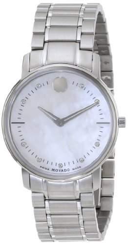 Movado Damen 30mm Silber Edelstahl Armband & Gehaeuse Mineral Glas Uhr 0606691
