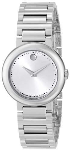 Movado Damen 26mm Silber Edelstahl Armband & Gehaeuse Saphirglas Uhr 0606702