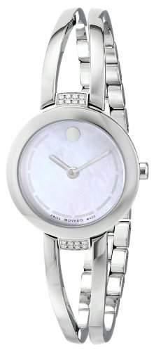 Movado Damen 25mm Silber Edelstahl Armband & Gehaeuse Saphirglas Uhr 0606813
