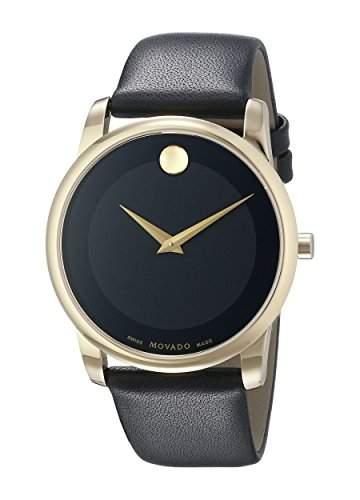 Movado Herren-Armbanduhr 40mm Armband Kalbsleder Gehaeuse Goldfarbenes Edelstahl Schweizer Quarz 0606876