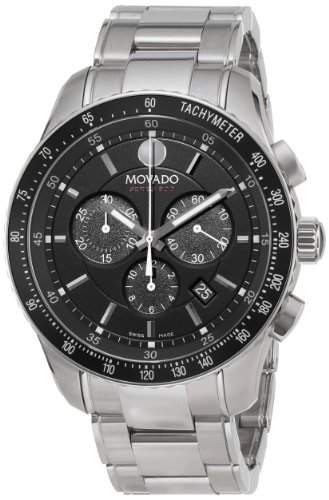 Movado Herren-Armbanduhr 43mm Armband Edelstahl + Gehäuse Batterie Zifferblatt Schwarz Analog 2600094