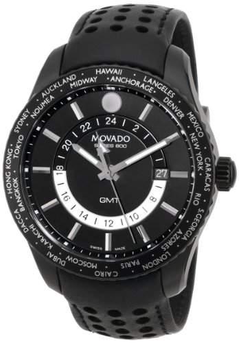 Movado Herren 42mm Schwarz Leder Armband Edelstahl Gehaeuse Datum Uhr 2600117