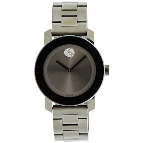 Movado Unisex-Armbanduhr Armband Vergoldetes Edelstahl Grau + Gehaeuse Schweizer Quarz Analog 3600103