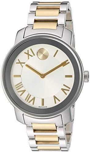 Movado Herren 39mm Silber Edelstahl Armband & Gehaeuse Mineral Glas Uhr 3600196