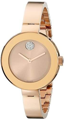Movado Bold Damen 34mm Gold Edelstahl Armband & Gehaeuse Mineral Glas Uhr 3600202