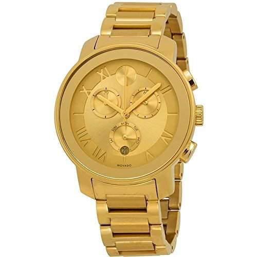 Movado Damen 40mm Chronograph Gold Edelstahl Armband & Gehaeuse Datum Uhr 3600209