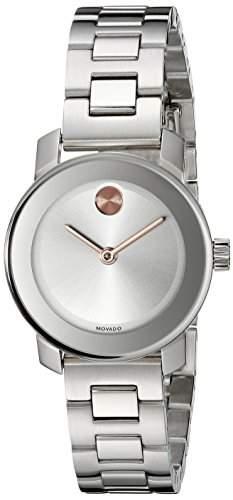 Movado Bold Damen 25mm Silber Edelstahl Armband & Gehaeuse Saphirglas Uhr 3600234