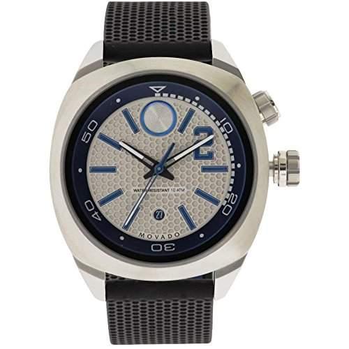 Movado Herren 44mm Schwarz Kautschuk Armband Edelstahl Gehaeuse Datum Uhr 3600264