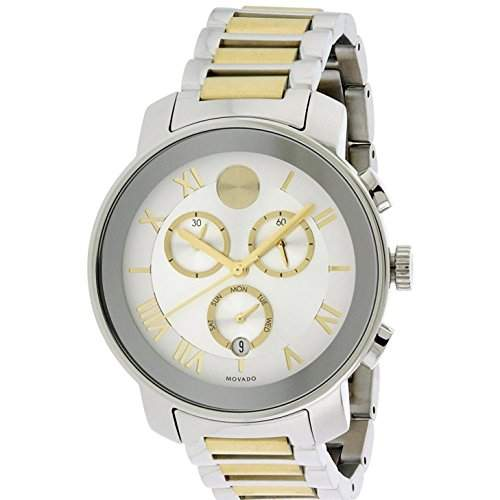 Movado Bold Herren-Armbanduhr Armband Edelstahl Zwei Ton + Gehäuse Quarz Zifferblatt Silber Datum 3600280