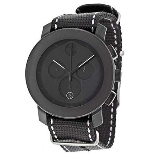 Movado Bold-Armbanduhr Chronograph Armband Textil Schwarz Gehaeuse Edelstahl Quarz Datum 3600308