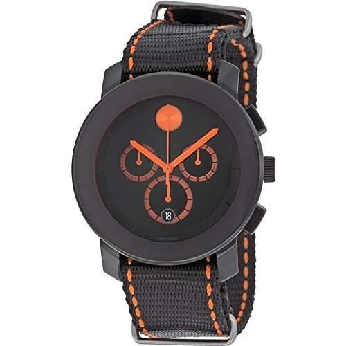 Movado Bold Herren-Armbanduhr Chronograph Armband Textil Schwarz Gehaeuse Edelstahl Quarz Datum 3600310