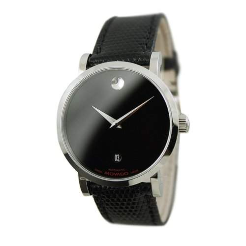 Movado Herren-Armbanduhr Analog Automatik Leder Schwarz 606114
