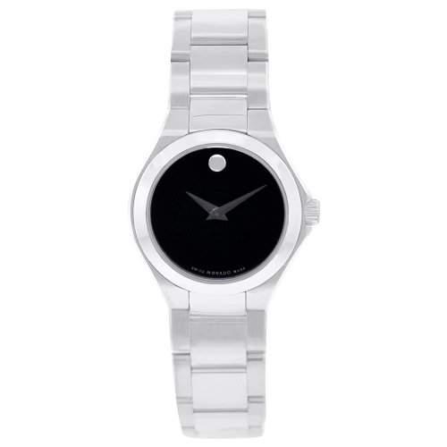 Movado Damen 29mm Silber Edelstahl Armband & Gehaeuse Saphirglas Uhr 606334