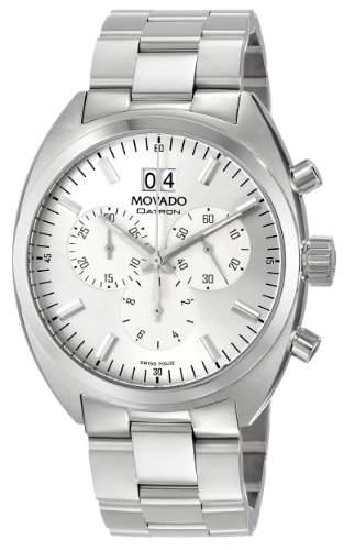 Movado Herren 0606477 Datron Quartz Chronograph Stainless-Steel Silver Dial Uhr
