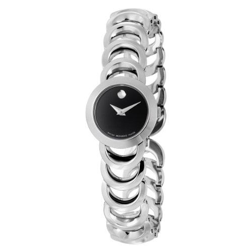 Movado Damen 606248 Rondiro Stainless Steel Black Runde Dial Armbanduhr