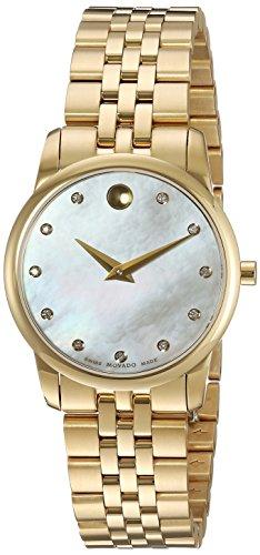 Movado 28mm Armband Gold beschichtetes Edelstahl Gehaeuse Schweizer Quarz Analog 606998