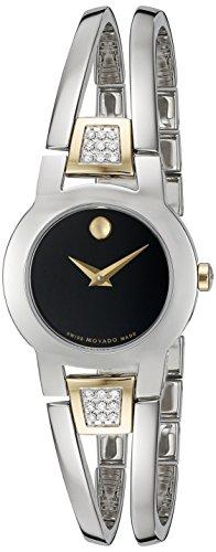 Movado Damen Armbanduhr Armband Edelstahl Gehaeuse Schweizer Quarz Zifferblatt Schwarz Analog 0606894