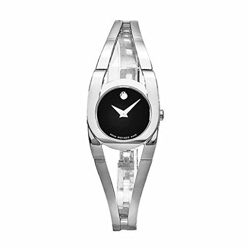 Movado Damen 24mm Silber delstahl Armband Gehaeuse Saphirglas Uhr 606394