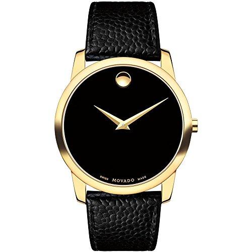Movado Museum Herren Armbanduhr 40mm Armband Leder Gehaeuse Gold beschichtetes Edelstahl Batterie 0607014