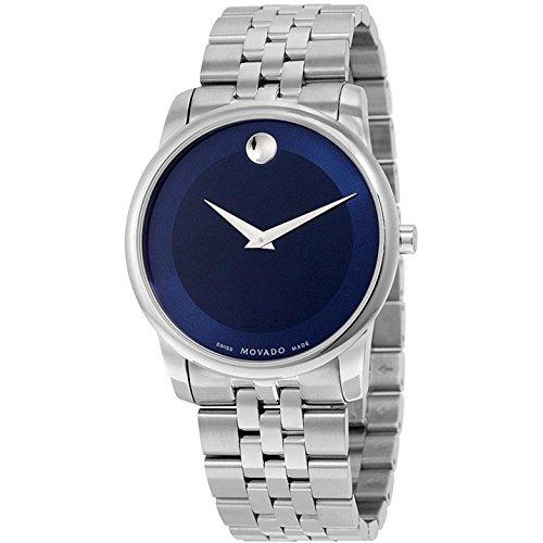 Movado Museum Classic Herren Armbanduhr 40mm Armband Edelstahl Gehaeuse Batterie Zifferblatt Blau 0606982
