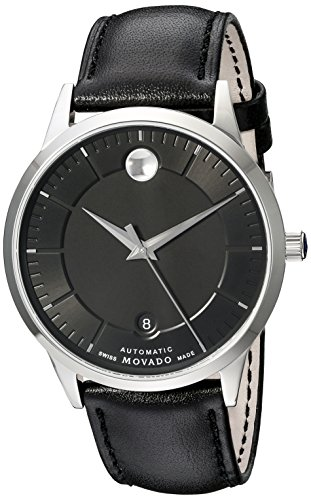 Movado 1881 Herren Armbanduhr 39 5mm Armband Leder Schwarz Gehaeuse Edelstahl Automatik Analog 606873
