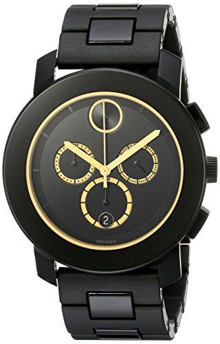 Movado Herren Armbanduhr Armband Kunststoff Schwarz Gehaeuse Edelstahl Schweizer Quarz Chronograph 3600275