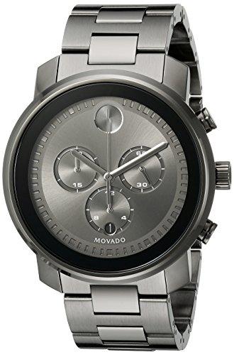 Movado Herren Armbanduhr Armband Vergoldetes Edelstahl Schwarz Gehaeuse Schweizer Quarz 3600277