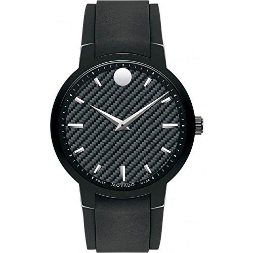 Movado Herren 42mm Schwarz Kautschuk Armband Edelstahl Gehaeuse Uhr 0606849