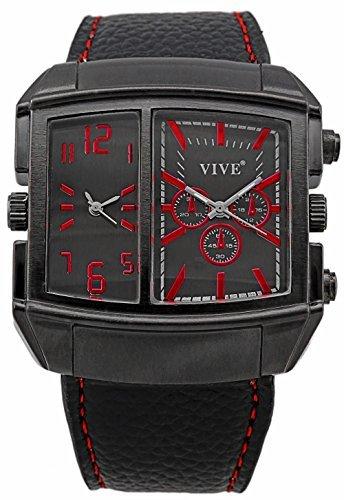 Banger Dualtime Red Black Racer Chronograph Double Temps Zwei Zonen Navigator Modell mit 2 Uhrwerken mit Lederarmband Rote Kontrastnaehte