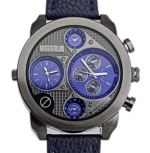 Banger Dualtime Blue Black Chronograph for Men Double Temps Zwei Zonen Navigator Herrenuhr XL Atlas Modell mit 2 Uhrwerken Weltzeituhr Schwarz Silber mit Lederarmband Kontrastnaehte