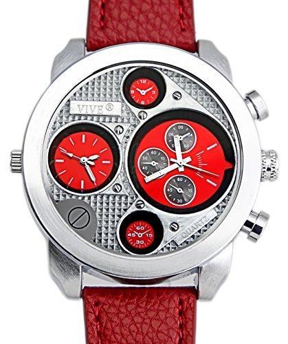 Banger Dualtime Red Chronograph for Men Double Temps Zwei Zonen Navigator XL Atlas Modell mit 2 Uhrwerken Weltzeituhr Schwarz Silber mit Lederarmband Rote Kontrastnaehte